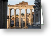 Elderly Greeting Cards - Temple of Saturn in the Forum Romanum. Rome Greeting Card by Bernard Jaubert