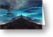 Catastrophe Greeting Cards - Temple of the Fire King Greeting Card by Corey Ford
