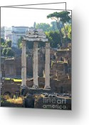 Deteriorated Greeting Cards - Temple of Vesta Arch of Titus. Temple of Castor and Pollux. Forum Romanum Greeting Card by Bernard Jaubert