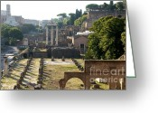 Pillar Greeting Cards - Temple of Vesta. Arch of Titus. Temple of Castor and Pollux. Forum Romanum. Roman Forum. Rome Greeting Card by Bernard Jaubert