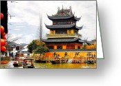Shanghai China Greeting Cards - Temple Pagoda Zhujiajiao - Shanghai China Greeting Card by Christine Till - CT-Graphics