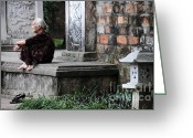 Old Lady Greeting Cards - Temple steps Greeting Card by Marion Galt