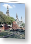 Digital Image Greeting Cards - Temples Ayutthaya Thailand Greeting Card by Paul Shefferly