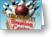 Clouds Posters Greeting Cards - Ten Pin Alley Bowling Greeting Card by Anthony Ross
