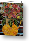 Flowers Glass Art Greeting Cards - Ten roses on a bench Greeting Card by Cornelia Tersanszki
