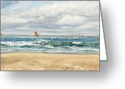 Shores Painting Greeting Cards - Tenby Greeting Card by John Brett