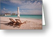 Sun Umbrella Greeting Cards - Tender Evening Sun. Maldivian Beach Greeting Card by Jenny Rainbow