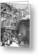 Intoxicated Greeting Cards - Tenement Life, 1879 Greeting Card by Granger