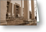 Rocking Chairs Greeting Cards - Tennessee Plantation Porch Greeting Card by Carol Groenen