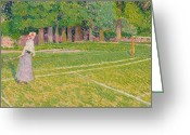 Edwardian Greeting Cards - Tennis at Hertingfordbury Greeting Card by Spencer Frederick Gore
