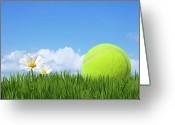 Leisure Activity Greeting Cards - Tennis Ball Greeting Card by Andrew Dernie