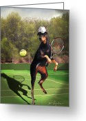 Funny Pet Picture Greeting Cards - Tennis playing Doberman Greeting Card by Gina Femrite