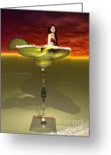 Lime Digital Art Greeting Cards - Tequila Sunrise Greeting Card by Sandra Bauser Digital Art