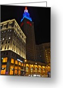 Hustle Bustle Greeting Cards - Terminal Tower and Casino Greeting Card by Robert Harmon