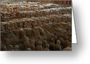 Shi Greeting Cards - Terra-cotta Soldiers Face An Imaginary Greeting Card by O. Louis Mazzatenta