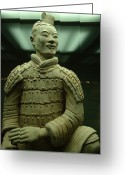 Qin Shi Huang Greeting Cards - Terra Cotta Warrior Excavated At Qin Greeting Card by Richard Nowitz