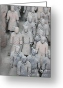 Terra Greeting Cards - Terra Cotta Warriors Detail Greeting Card by Thomas Marchessault