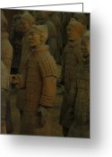 Qin Shi Huang Greeting Cards - Terra Cotta Warriors Excavated At Qin Greeting Card by Richard Nowitz