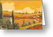 Poppy Greeting Cards - terra di Siena Greeting Card by Guido Borelli