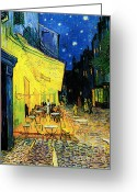 Van Painting Greeting Cards - Terrace of the cafe on the Place du Forum in Arles in the evening Greeting Card by Pg Reproductions