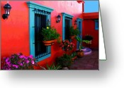 Image Gypsies Greeting Cards - Terrace Windows at Casa de Leyendas by Darian Day Greeting Card by Olden Mexico