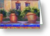 Plants Pastels Greeting Cards - Terracotta and Tiles Greeting Card by Candy Mayer
