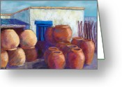 Mexican Pastels Greeting Cards - Terracotta Pots Greeting Card by Candy Mayer