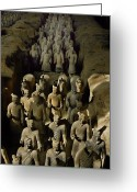 Graves And Tombs Greeting Cards - Terracotta Warriors And Horses March Greeting Card by O. Louis Mazzatenta