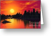 Extrasolar Planet Greeting Cards - Terrestrial Planet at 55 Cancri Greeting Card by Lynette Cook
