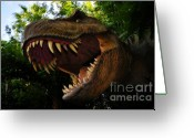 T Rex Greeting Cards - Terrible lizard Greeting Card by David Lee Thompson
