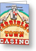 Welcome Signs Greeting Cards - Terribles Town Casino Greeting Card by Wingsdomain Art and Photography