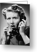 Disbelief Greeting Cards - Terrified Woman Talking On Phone, (b&w), Portrait Greeting Card by George Marks