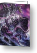 Squid Greeting Cards - Terror from the Deep Greeting Card by Oliver Frey