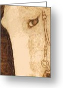 Horse Pyrography Greeting Cards - Tessas Pony Greeting Card by Cheret Adar