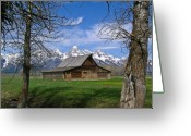 Old Photo Greeting Cards - Teton Barn Greeting Card by Douglas Barnett
