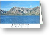 Grand Teton Panoramic Greeting Cards - Teton Moonset Greeting Card by Greg Norrell