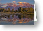 Majestic Greeting Cards - Teton Morning Mirror Greeting Card by Joseph Rossbach