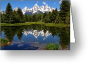 Teton National Park Greeting Cards - Teton Reflection Greeting Card by Alan Lenk