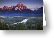 River. Clouds Greeting Cards - Tetons Morning Greeting Card by Andrew Soundarajan
