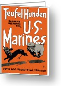 Military Mixed Media Greeting Cards - Teufel Hunden German Nickname For US Marines Greeting Card by War Is Hell Store