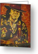 Trouble Greeting Cards - Texas Blues Man- SRV Greeting Card by Eric Dee