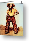 Remington Greeting Cards - Texas Cowboy Greeting Card by Frederic Remington