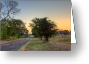 Asphalt Digital Art Greeting Cards - Texas Farm Road Greeting Card by Barry Jones