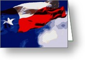 Live Music Greeting Cards - Texas Flag in the Wind Color 16 Greeting Card by Scott Kelley