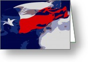 Live Music Greeting Cards - Texas Flag in the Wind Color 6 Greeting Card by Scott Kelley
