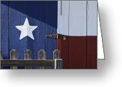 Hinge Greeting Cards - Texas Flag Painted on a House Greeting Card by Jeremy Woodhouse
