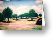 Lanscape Pastels Greeting Cards - Texas Haystacks Greeting Card by Stephen Duffin