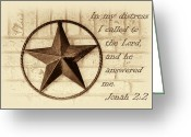 Jonah Photo Greeting Cards - Texas Iconic Star Greeting Card by Linda Phelps