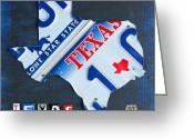 Design Turnpike Greeting Cards - Texas License Plate Map Greeting Card by Design Turnpike
