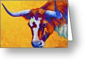 Farms Greeting Cards - Texas Longhorn Cow Study Greeting Card by Marion Rose